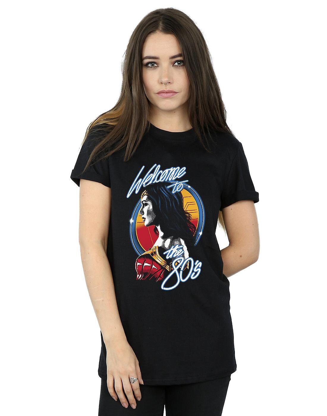 Absolute Cult DC Comics Femmes-apos;s Wonder Woman 84 Bienvenue dans les années 80 Boyfriend Fit T-Shirt Noir XXX-Large
