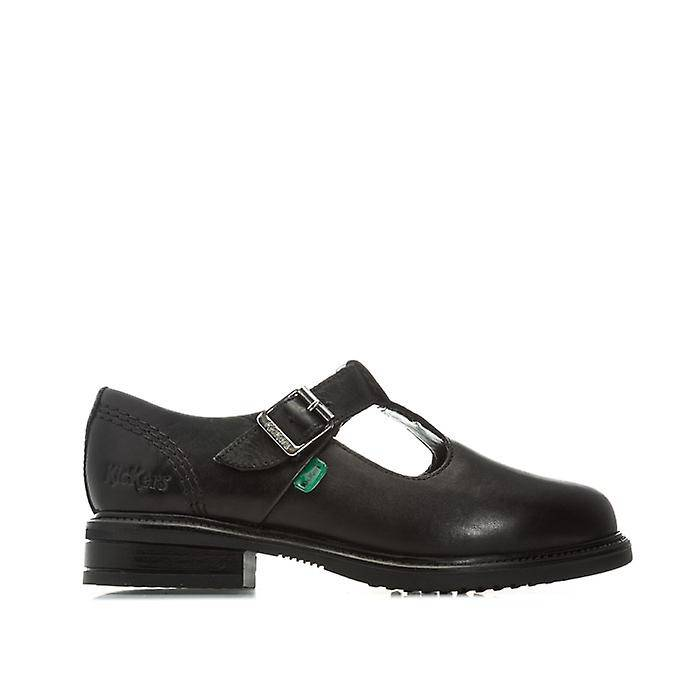 Kickers Girl-apos;s Kickers Enfants Lach T-Bar Chaussures en cuir en noir UK 1