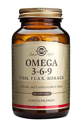 Solgar Omega 3-6-9 poisson, lin, bourrache capsules, 60