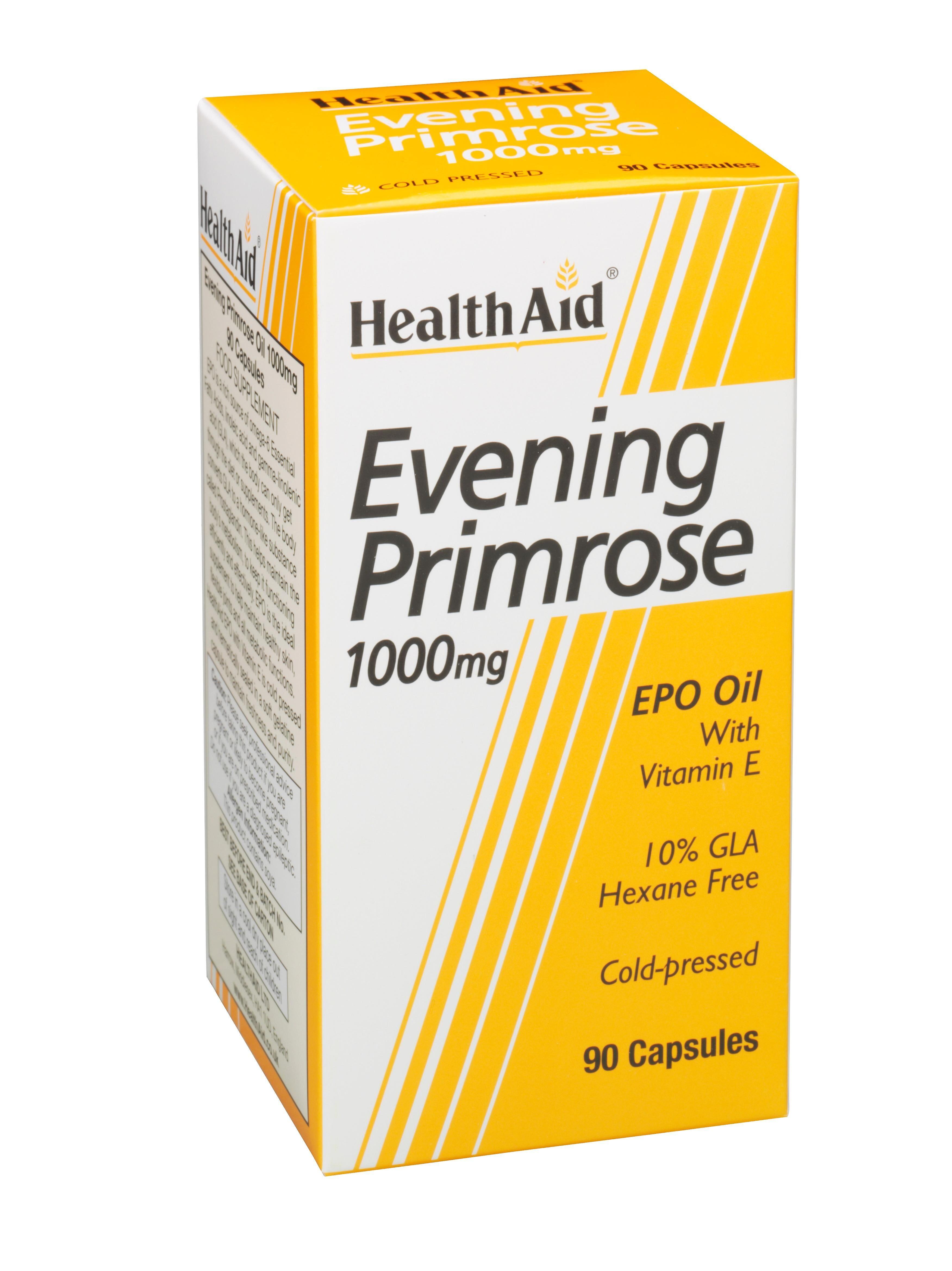 HealthAid Santé aide huile d'onagre 1000mg + vitamine E, 90 gélules