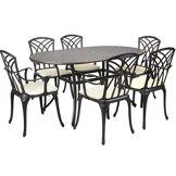 Charles Bentley Metal Cast Aluminium 7 Piece Garden Furniture Table Patio Ensemble ...