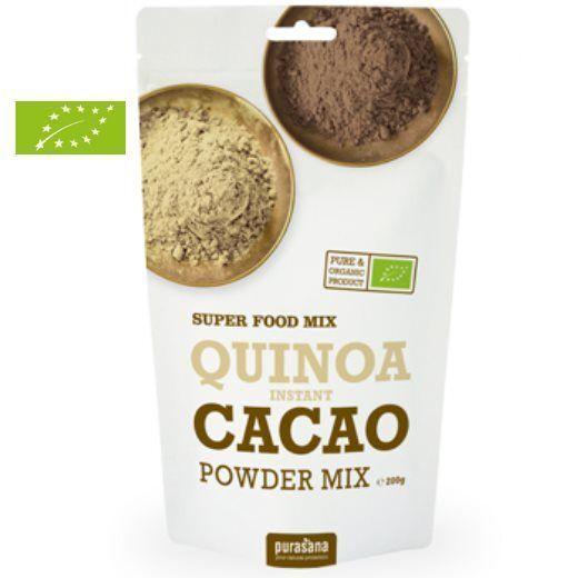 Purasana Quinoa, Cacao & Lucuma en poudre instantanée Bio - Protéines & Satiété SuperFoods 200g - Purasana