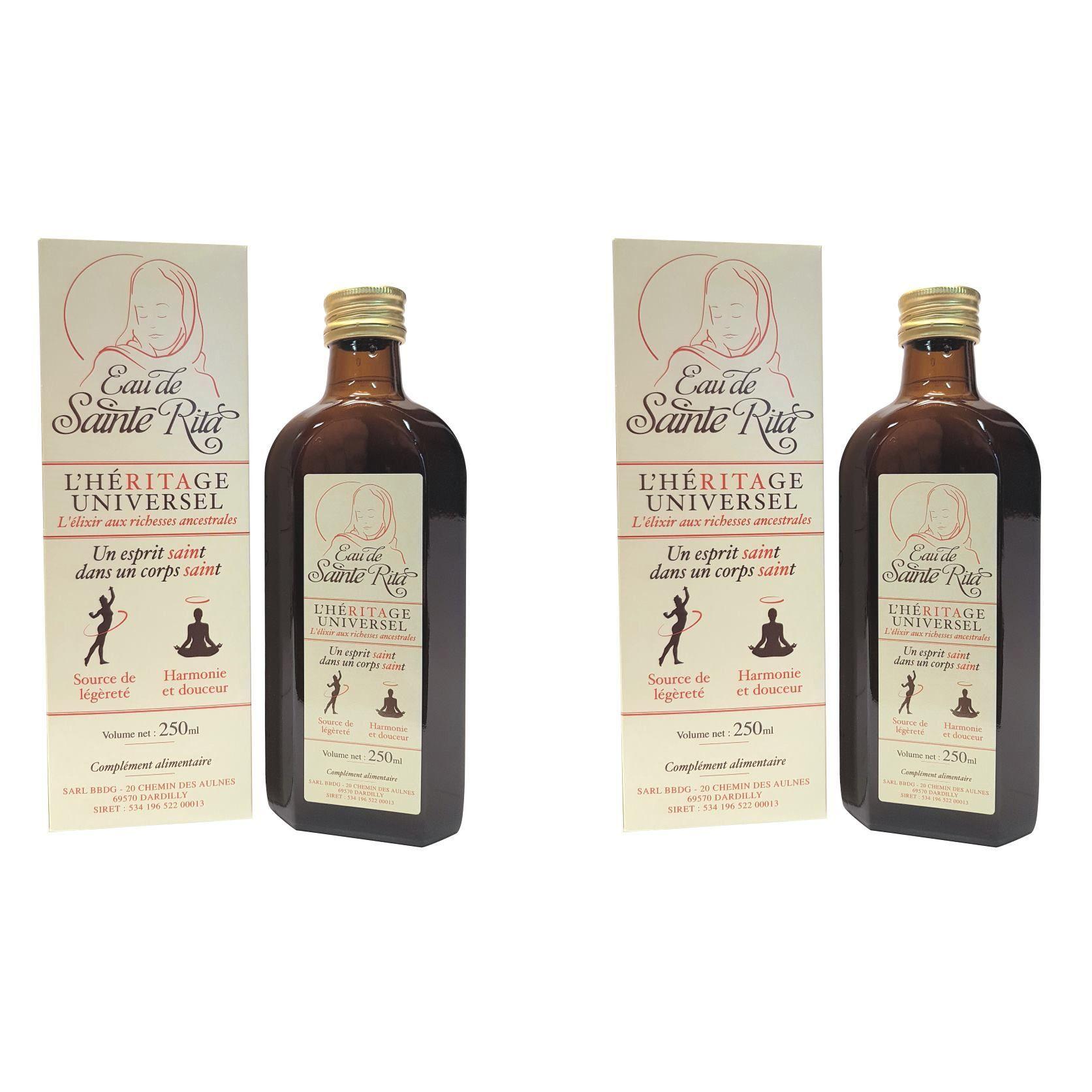 Eau de Sainte Rita avec alcool - lot de 2 flacons de 250 ml pour une cure d'un mois