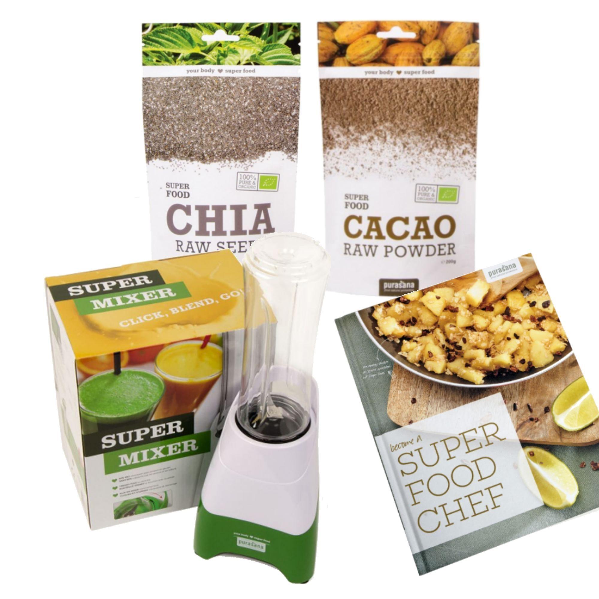 Purasana Super Mixer, Livre, Chia & Cacao - Découvrez les SuperFoods - Purasana