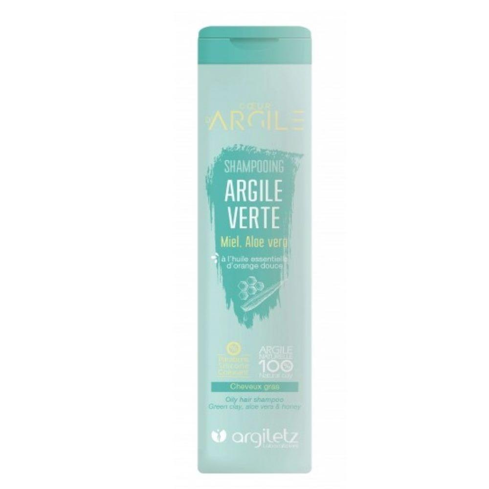 Argiletz Shampooing à l'argile verte, miel, aloé vera et Huile essentielle d'orange douce - Cheveux gras 200ml - Argiletz