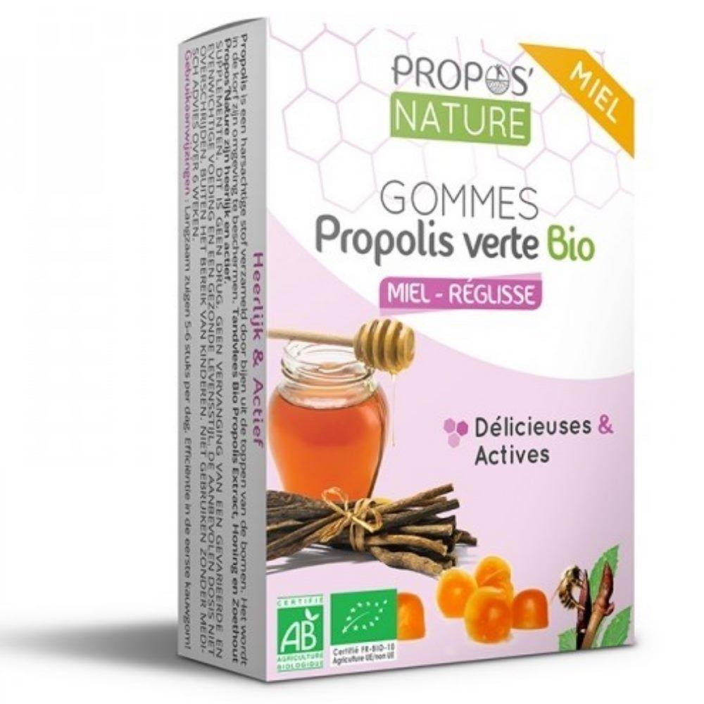 Propos' Nature Gommes Propolis verte Bio Miel & Réglisse - Délicieuses et Actives 45 g - Propos Nature