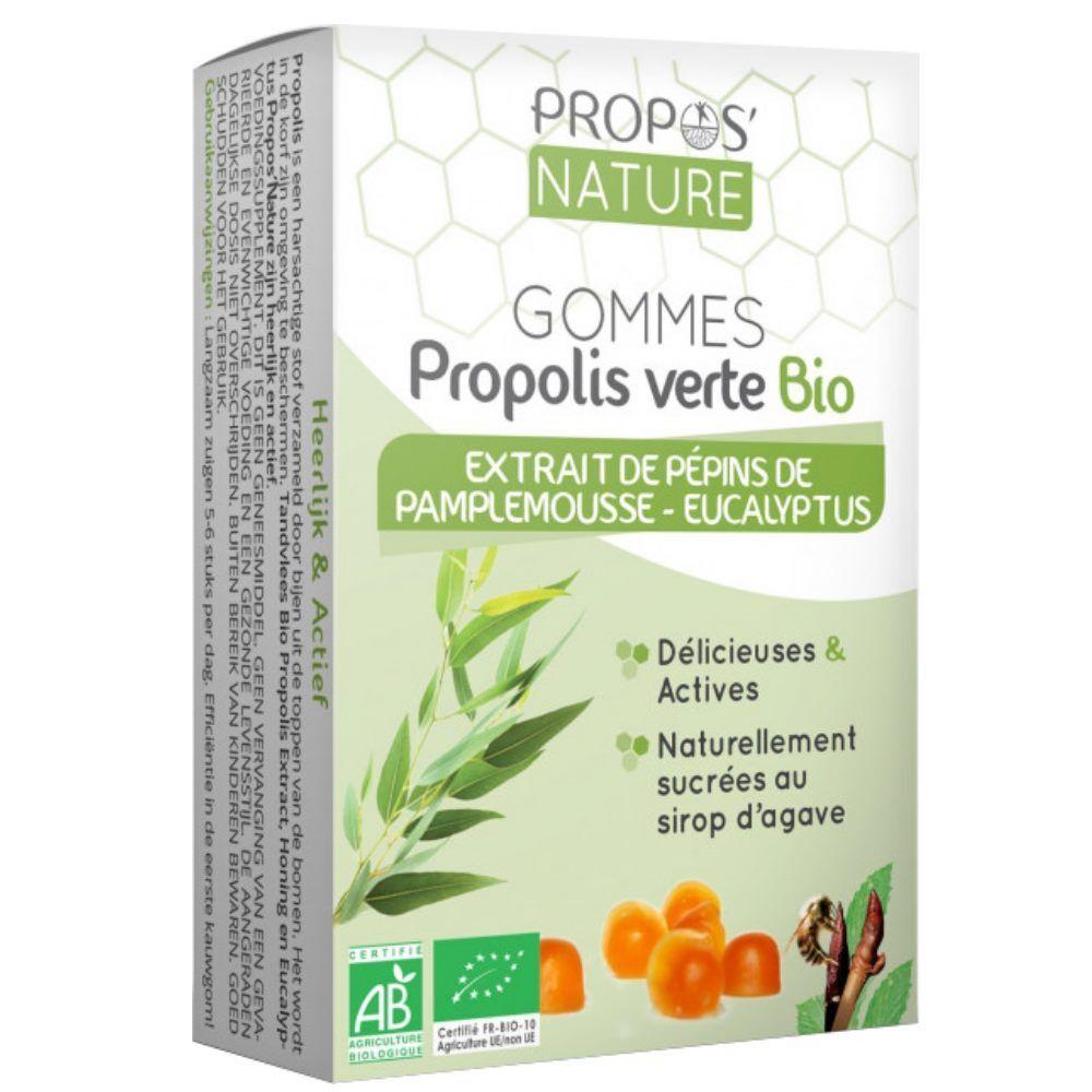 Propos' Nature Gommes Propolis verte Bio Extrait de pépins de pamplemousse & Eucalyptus 45g - Propos Nature