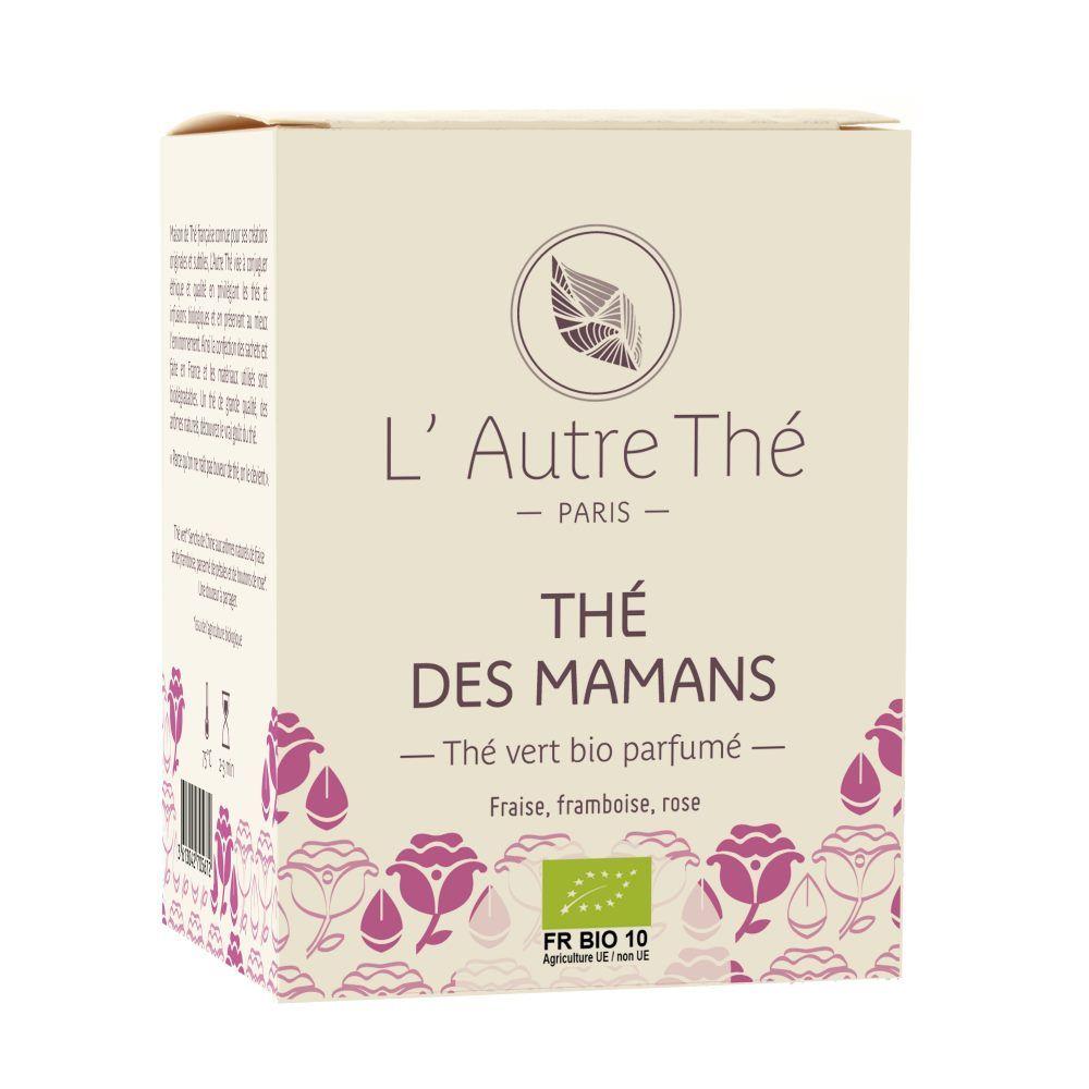L'Autre Thé Thé des Mamans Bio - Thé vert à la fraise, framboise et rose 20 sachets pyramide - L'Autre thé