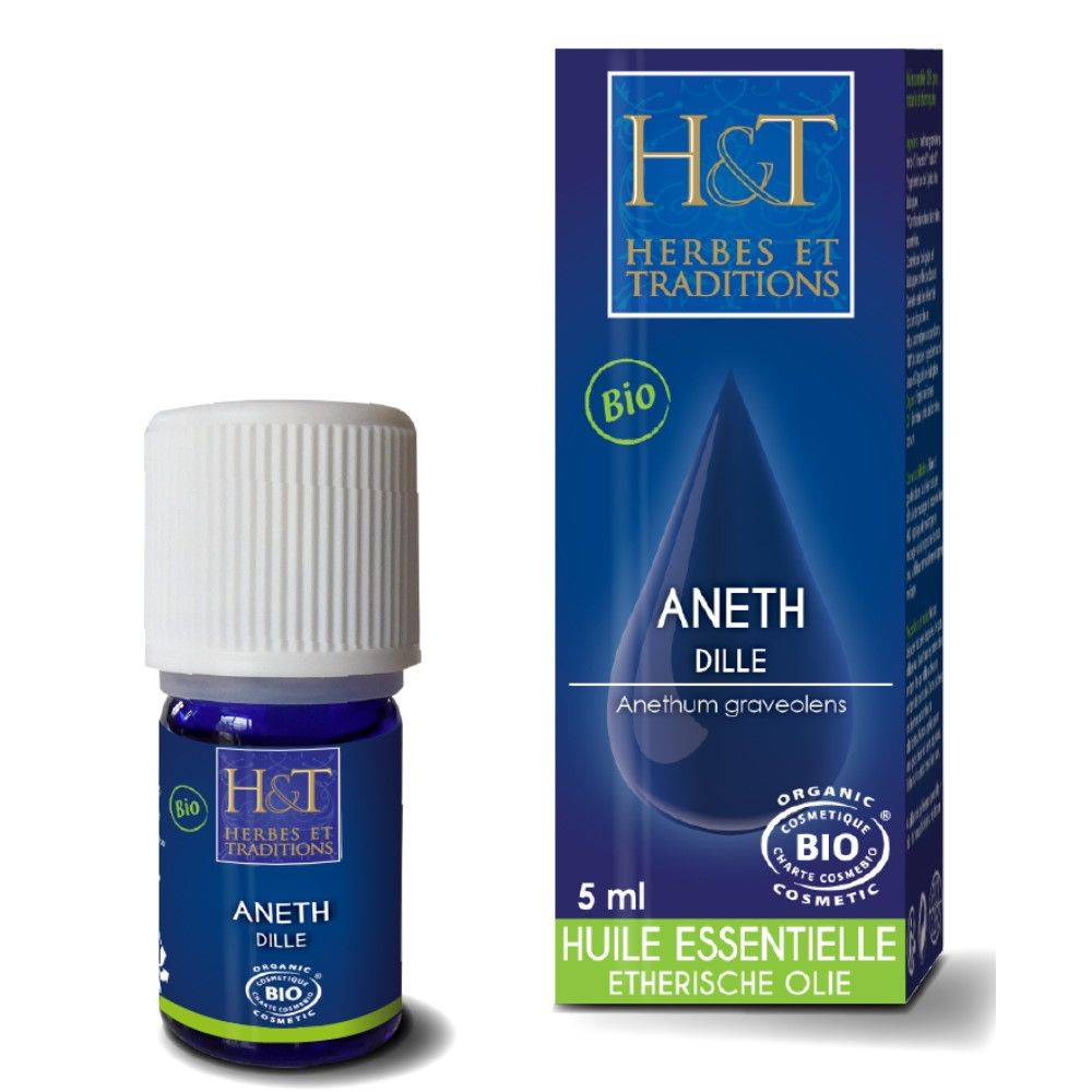 Herbes et Traditions Aneth Bio - Huile essentielle d'Anethum Graveolens 5 ml - Herbes et Traditions