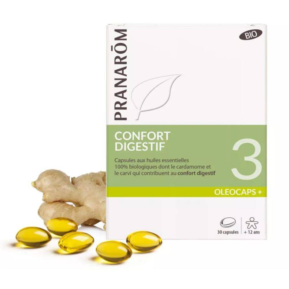 Pranarôm Oléocaps + 3 Bio - Confort Digestif 30 capsules d'huiles essentielles - Pranarôm