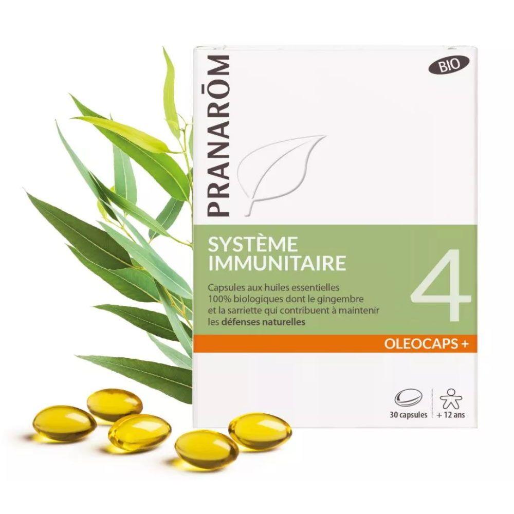 Pranarôm Oléocaps + 4 Bio - Système Immunitaire 30 capsules d'huiles essentielles - Pranarôm