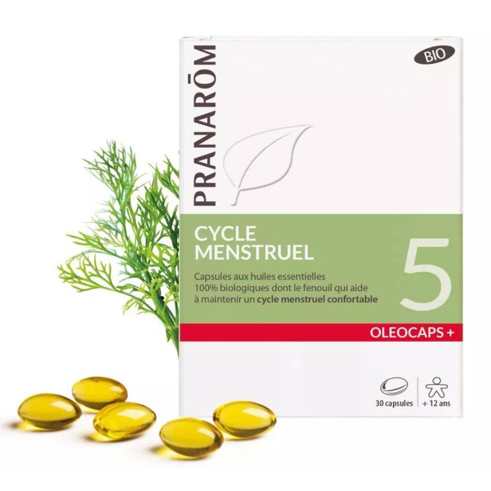 Pranarôm Oléocaps + 5 Bio - Cycle Menstruel 30 capsules d'huiles essentielles - Pranarôm