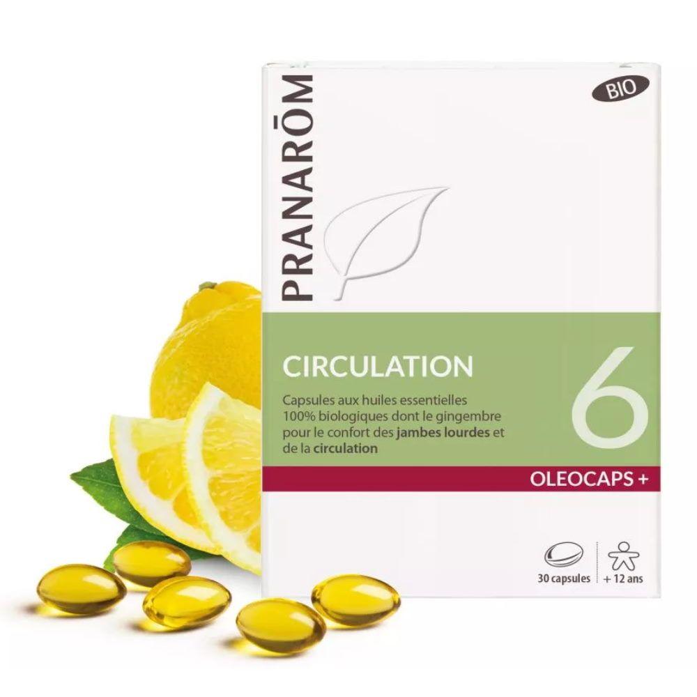 Pranarôm Oléocaps + 6 Bio - Circulation 30 capsules d'huiles essentielles - Pranarôm