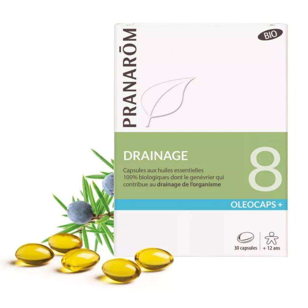 Pranarôm Oléocaps + 8 Bio - Drainage 30 capsules d'huiles essentielles - Pranarôm