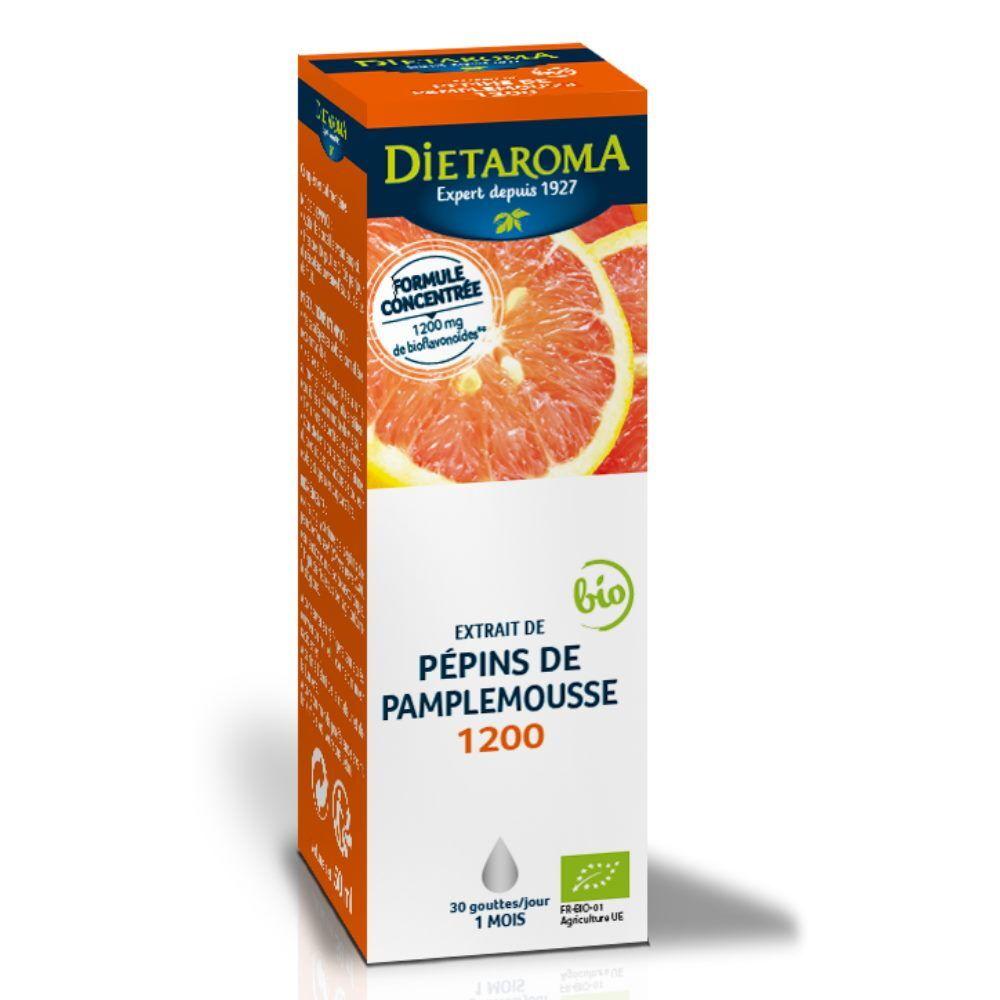 Dietorama Extrait de Pépins de Pamplemousse 1200 Bio - Immunité 50 ml - Dietaroma