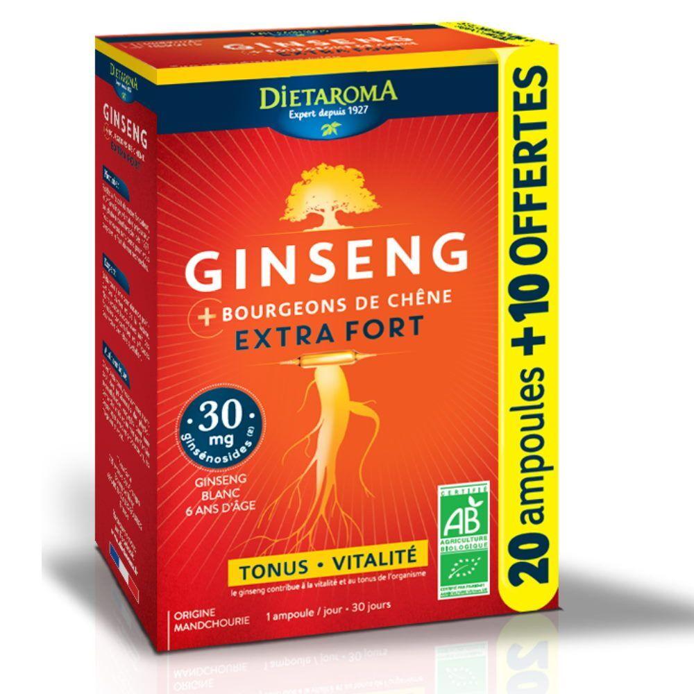 Dietorama Ginseng Extra Fort Bio - Tonus et Vitalité 20 ampoules + 10 offertes - Dietaroma