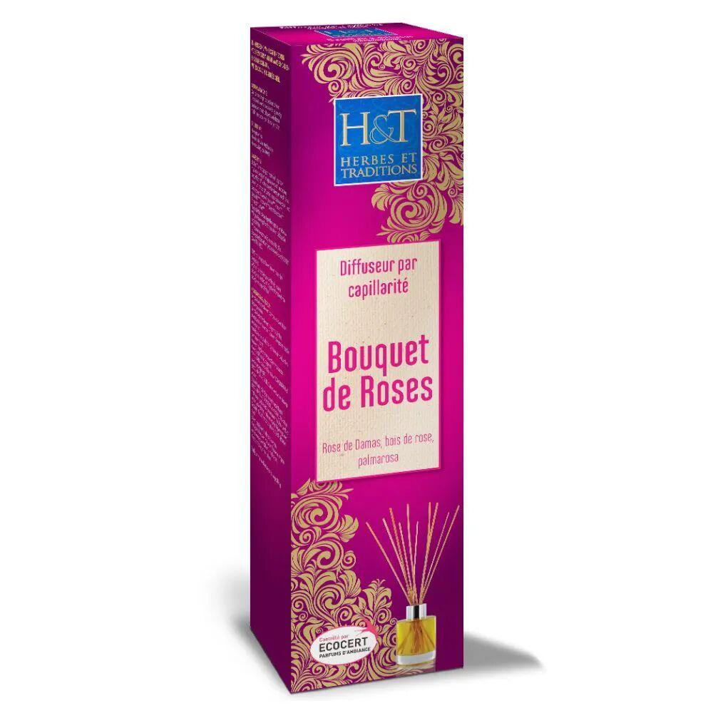 Herbes et Traditions Bouquet de roses Bio - Diffuseur par capillarité et recharges 100 ml - Herbes et Traditions