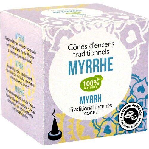 Les Encens du Monde Myrrhe encens indien - Relaxant 12 cônes - Les Encens du Monde