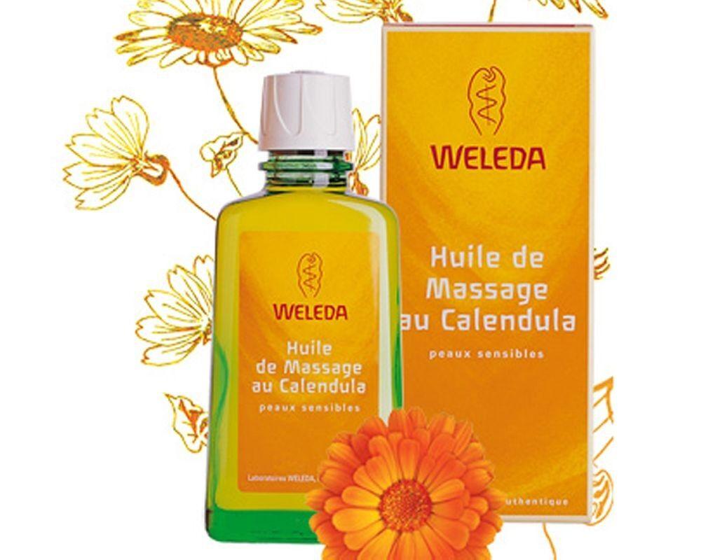 Weleda Huile de Massage au Calendula - Réchauffe et prend soin de la peau sensible 100 ml - Weleda