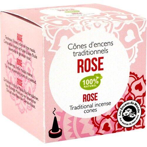 Les Encens du Monde Rose encens indien - Composition tendre et fruitée 12 cônes - Les Encens du Monde