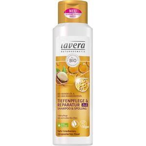 Lavera Soin des cheveux Shampoo Huile d'amande bio & huile de noix de macadamia Shampooing et après-shampooing soin profond & reconstituant 2 en 1 250 ml