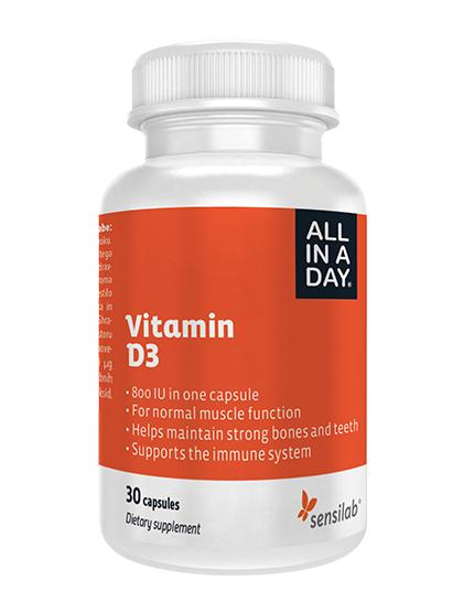 Sensilab Vitamine D3 - pour les os et les muscles - 30 capsules