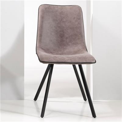 NOUVOMEUBLE Chaise salle à manger design grise LOANE (lot de 2)