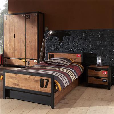 NOUVOMEUBLE Chambre complète en bois industrielle BRONX armoire 3 portes