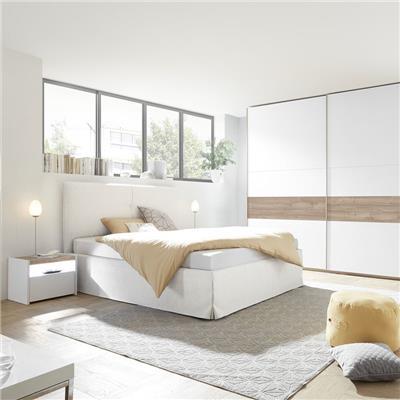 NOUVOMEUBLE Chambre à coucher adulte blanche et couleur noyer NERINA lit 180 cm