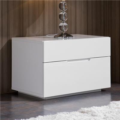 NOUVOMEUBLE Table de nuit design blanc laqué 2 tiroirs ALBINA
