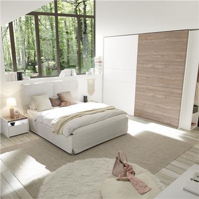 NOUVOMEUBLE Chambre à coucher blanche et couleur bois clair DEBORAH lit 180 cm