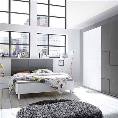 NOUVOMEUBLE Chambre à coucher blanc et gris laqué TIAVANO lit 180 cm