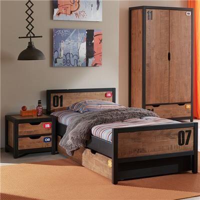NOUVOMEUBLE Chambre ado complète industrielle en bois BRONX armoire 2 portes