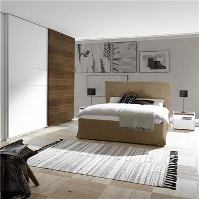 NOUVOMEUBLE Chambre à coucher moderne blanc et couleur noyer foncé DELFINO lit 160 cm
