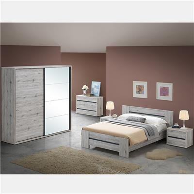 NOUVOMEUBLE Chambre à coucher couleur chêne rustique EVINA