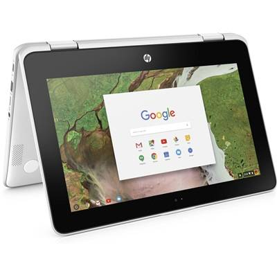 Hewlett Packard HP Chromebook x360 11-ae101nf - Blanc neige avec la souris sans fil HP Z3700 à moitié prix !
