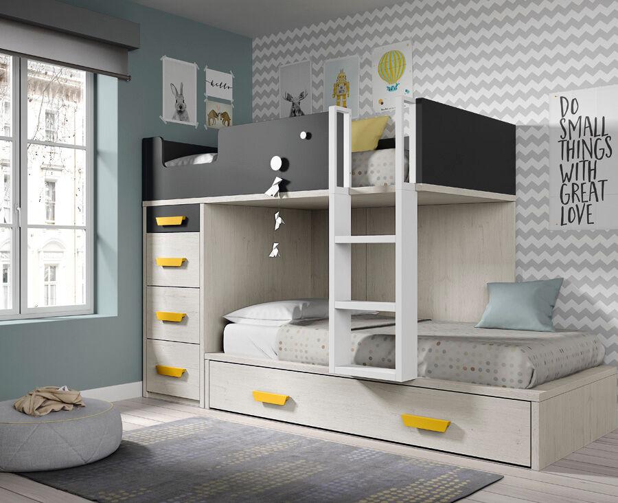 Ros Lit superposé avec lit d'appoint et 4 tiroirs