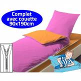 Bleu Câlin Couchage avec couette 90X190 Orange