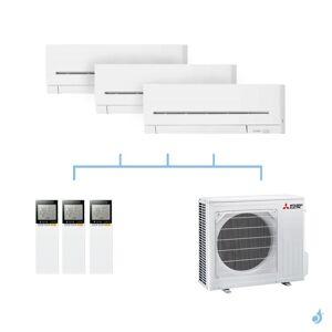 Mitsubishi Electric MITSUBISHI climatisation tri split gaz R32 mural compact MSZ-AP 6,8kW MSZ-AP15VF + MSZ-AP15VF + MSZ-AP50VG + MXZ-3F68VF A++