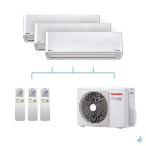 TOSHIBA climatisation tri split mural gaz R32 Super Daiseikai 9 5,2kW RAS-M10PKVPG-E x2 + RAS-M16PKVPG-E + RAS-3M18U2AVG-E A++ - Publicité