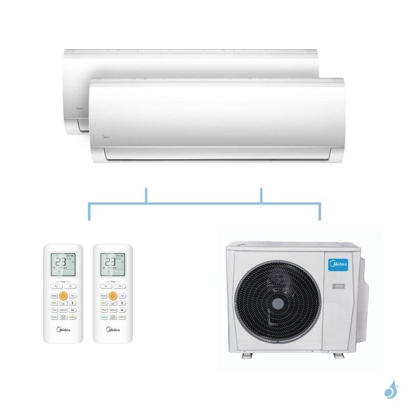 MIDEA climatisation bi split murale Blanc gaz R32 MSMABU-09HRDN8 + MSMACU-18HRFN8 + M40B-36HFN8-Q 10,55kW A++