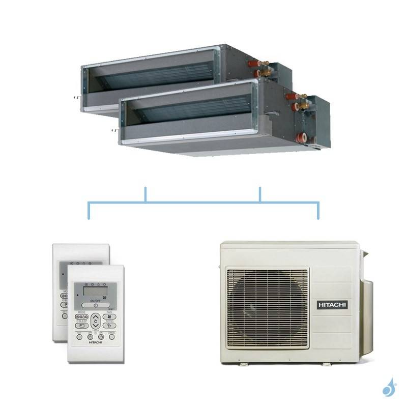 HITACHI climatisation bi split gainable gaz R32 RAD-25RPE + RAD-50RPE + RAM-53NP3E 5,3kW A+++