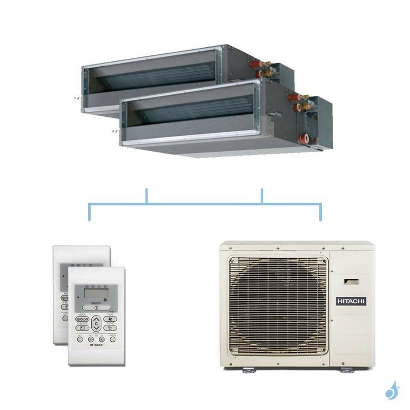 HITACHI climatisation bi split gainable gaz R32 RAD-25RPE + RAD-50RPE + RAM-110NP5E 10kW A++