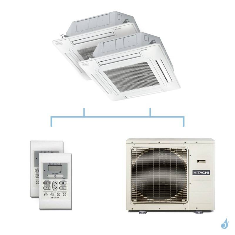 HITACHI climatisation bi split cassette 600x600 gaz R32 RAI-60RPE + RAI-60RPE + RAM-90NP5E 8,5kW A++