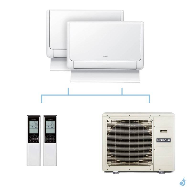 HITACHI climatisation bi split console Shirokuma gaz R32 RAF-35RXE + RAF-50RXE + RAM-90NP5E 8,5kW A++