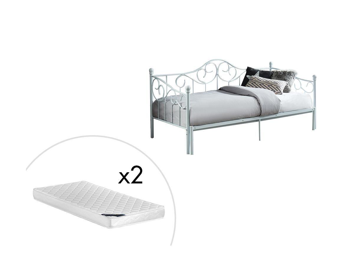 Lit gigogne banquette extensible SEBILLE - 2 x 90 x 200 cm ou 180 x 200 cm - Métal - Blanc + matelas