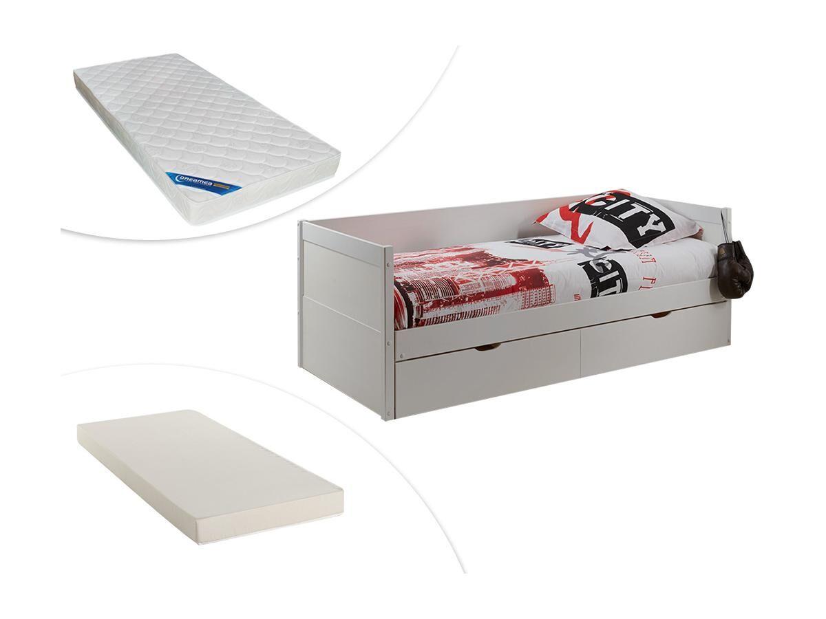 Lit gigogne banquette ALFIERO avec rangements - 2x90x190cm - Laqué mat blanc + matelas