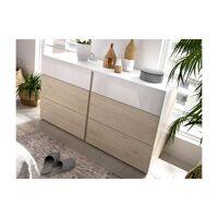 Commode ODET - 6 tiroirs - Blanc et chêne <br /><b>149.99 EUR</b> Vente-unique.com