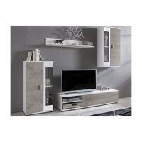Mur TV DYLAN avec rangements - LEDs - Coloris : Blanc et Béton <br /><b>239.99 EUR</b> Vente-unique.com