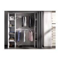 Dressing extensible DORIAN avec rideau - L110/180 cm - Coloris : Blanc et gris <br /><b>179.99 EUR</b> Vente-unique.com